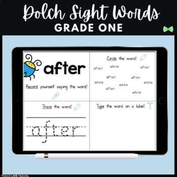 SeeSaw Grade One Dolch Sight Words - Practice Pages - Digital Classroom