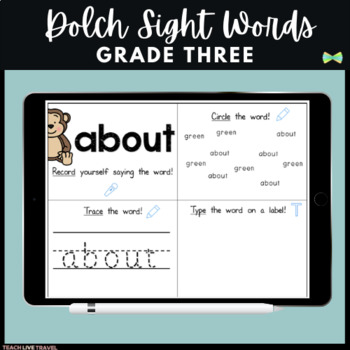 Seesaw Grade Three Dolch Sight Words -Digital Pages - Seesaw Activities