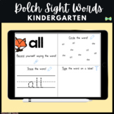Seesaw Kindergarten Dolch Sight Words - Digital Pages - Seesaw Activities