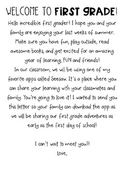Seesaw Welcome Letter