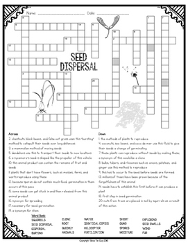 Seed Dispersal Comprehension Crossword