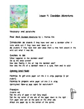 Seed Dispersal Lesson: Dandelion Adventures Read Aloud and Spinning Seed