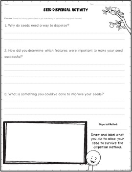 Seed Dispersal Plant STEM Inquiry Activity FREE Resource