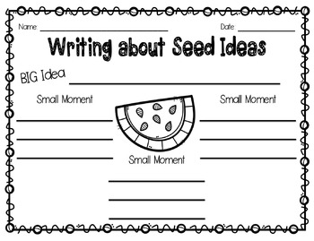 Seed Ideas Graphic Organizer- Small Moment Story