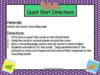 Seed and Read Rhyming Words:  LOW PREP Garden Themed Write the Room