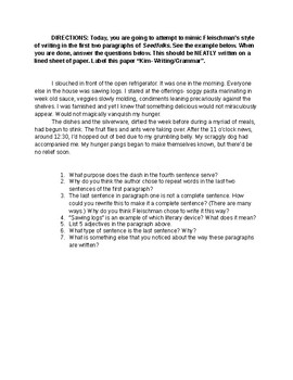 Seedfolks Writing/ Grammar Activity for Kim