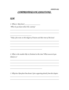 Seedfolks Comprehension Questions Packet