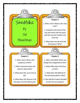 SEEDFOLKS by Paul Fleischman  - Discussion Cards