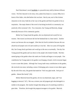 Seedfolks - Final Essay Sample Good