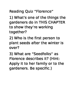 "Seedfolks Quiz ""Florence"" chapter"