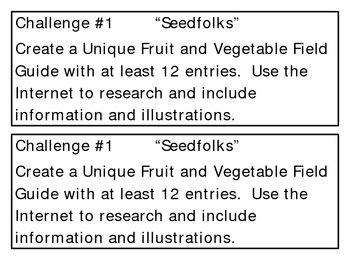 """""""Seedfolks"""" by P. Fleischman, Project Challenges"""