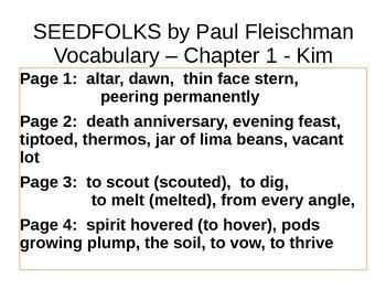 IR Seedfolks by Paul Fleischman Vocabulary - Kim PPt
