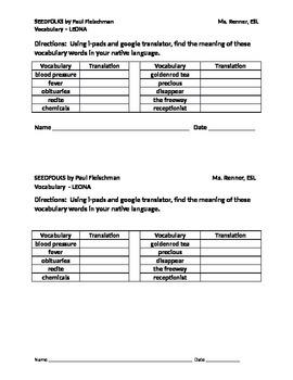 IR Seedfolks by Paul Fleischman Vocabulary - LEONA- transl