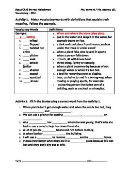 IR Seedfolks by Paul Fleischman Vocabulary - Wendell Matching Activity