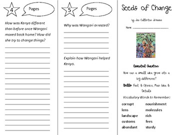 Seeds of Change Trifold - Open Court 4th Grade Unit 1 Lesson 4