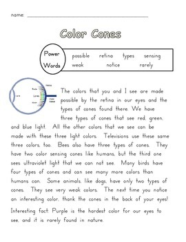 Seeing Colors Fluency Passage and Close Reading Activity