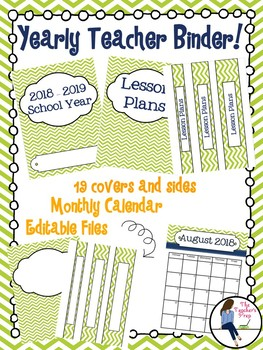 Yearly Teacher Binder Covers and Sides - Green Chevron