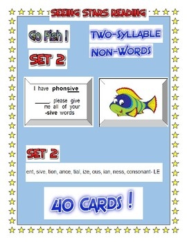 Seeing Stars Reading  2 SYLLABLE    GO FISH GAME !    SET 2