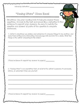 """""""Seeing Stars"""" Close Reading Comprehension"""