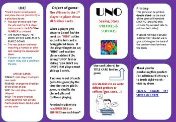 Seeing Stars PREFIXES and SUFFIXES - GAME