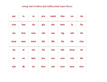 Seeing Stars PREFIXES and SUFFIXES CONNECT IT GAME