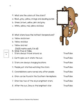 Seeing Stars ( Reading Street 3rd Grade) Comprehension Quiz