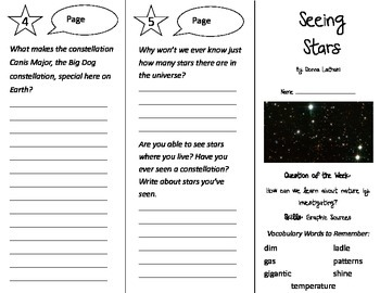 Seeing Stars Trifold - Reading Street 3rd Grade Unit 3 Week 3