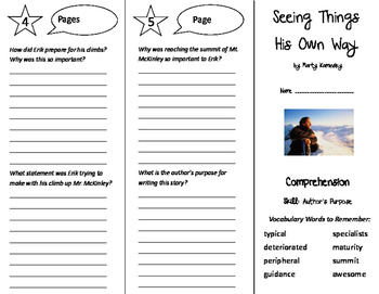 Seeing Things His Own Way Trifold - Treasures 6th Grade Unit 4 Week 1