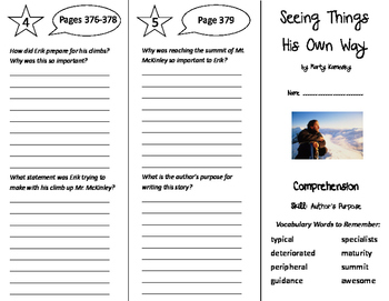 Seeing Things His Own Way Trifold - Treasures 6th Grade Un