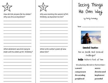 Seeing Things His Own Way Trifold - Wonders 6th Grade Unit 4 Week 2