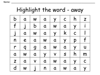 """Seek and Find -  Sight Word """"away"""""""