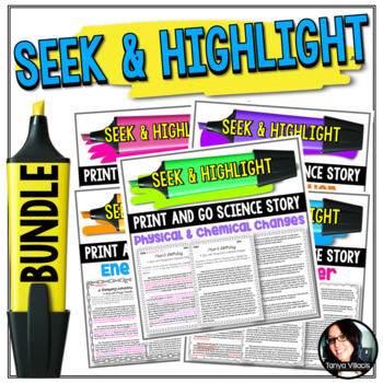 Seek and Highlight Science Stories BUNDLE *GRADES 4-5* 5 PRODUCTS IN 1 EASY PREP