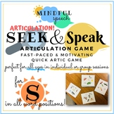 Quick Artic Game for S Speech Therapy Articulation Stopping Lisp