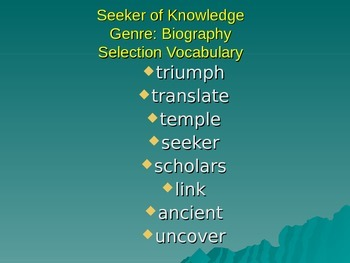 Seekers of Knowledge Vocabulary Power Point Reading Street 2011