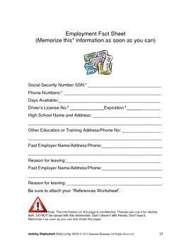 Seeking Employment Workbook-Daily Living Skills