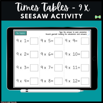 Seesaw Activities - 9x Table - Math