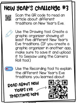 New Year's Challenges | For Use with Seesaw
