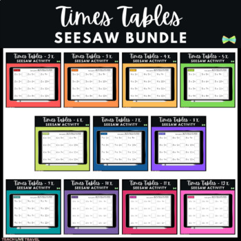 Seesaw Activities - Times Tables Bundle - Math