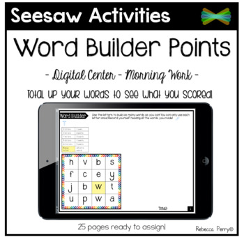 Seesaw Activities - Word Builder with Points!- Language Center - Morning Work