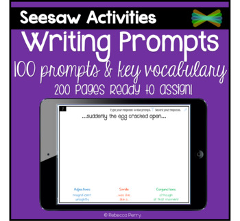 Seesaw Activities - Writing Prompts - Language Center - Morning Work