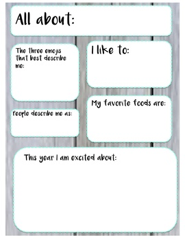 Seesaw Activity Template: All About Me!