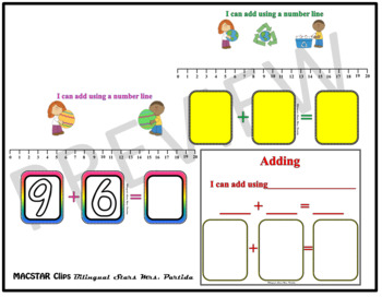 Seesaw Addition 0-20 Using a Number Line PNG Templates English Version