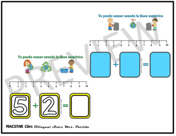 Seesaw Addition 0-20 Using a Number Line PNG Templates Spanish Version