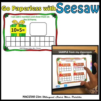 Seesaw Addition 10-20 Using a Ten Frame PNG Templates English Christmas Version