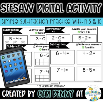 Seesaw Digital Activity: Subtraction within 10