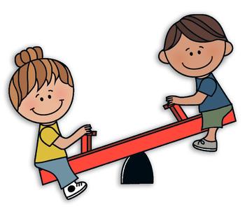 Seesaw Kids Clipart
