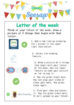 Seesaw Letter of the Week Task Card