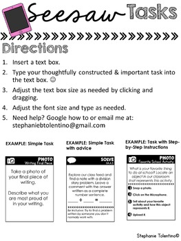 Seesaw Portfolio Task Cards: Build Your Own
