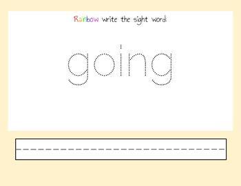 Seesaw Sight Word Rainbow Writing