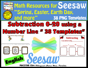 Seesaw Subtraction 0-20 Using a Number Line PNG Templates